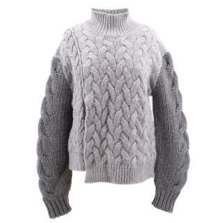 Stella McCartney grey braided wool turtle neck jumper