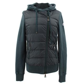 Moncler green jersey padded hooded jacket