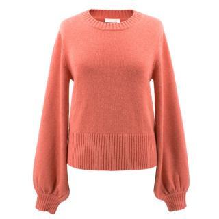 Chloe coral cashmere crew neck sweater
