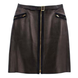 Gucci Dark Olive Leather Skirt with Gold Zip Detail