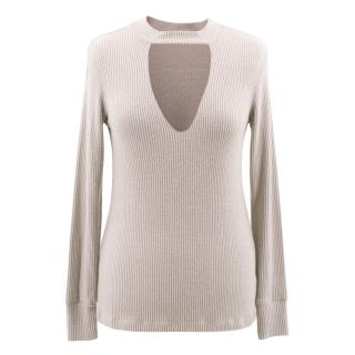 LNA beige long sleeve v-neck top