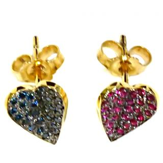 Votsi Ruby and blue diamond heart stud earrings