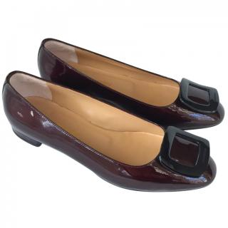 Russell & Bromley burgundy patent leather flats