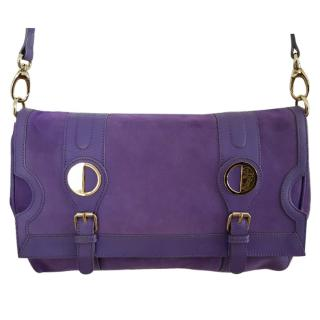 Versace purple suede and leather shoulder bag