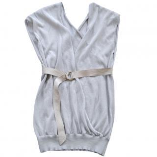 Brunello Cucinelli stretch-knit belted cardigan/top
