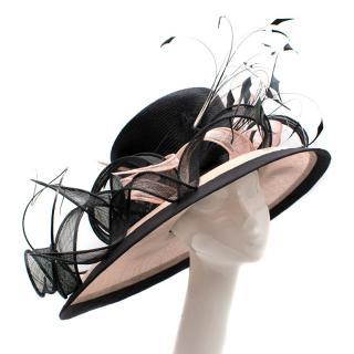 Siggi Bespoke Black & Pink Feather Hat