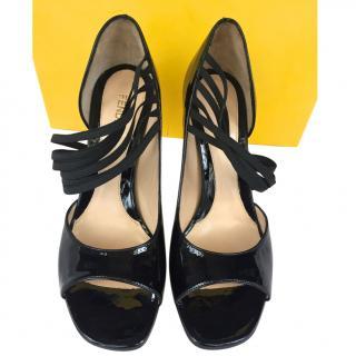 Fendi black patent shoes