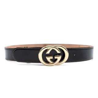 Gucci Black Patent Leather GG Logo Belt