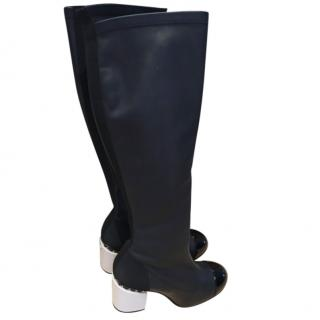 Chanel black long leather boots with white block chain heel