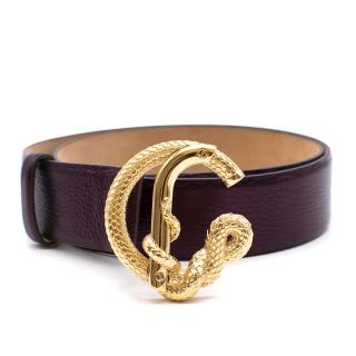 Roberto Cavalli purple belt with gold serpent buckle