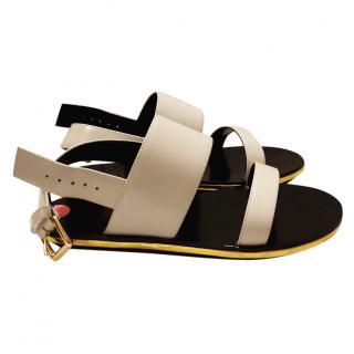 Marni grey gold trim sandals