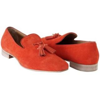 Christian Louboutin coral suede loafer