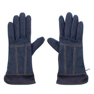 Agnelle denim and navy leather gloves