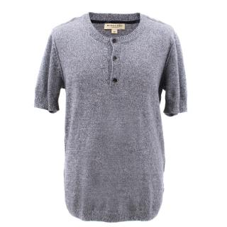 Burberry blue cashmere blend short sleeved top