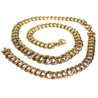 Vintage bespoke gold & diamond necklace & bracelet