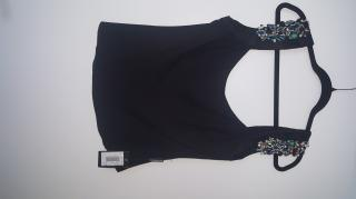 Emporio Armani black top with jewelled shoulders