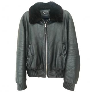 Louis Vuitton men's black leather jacket with removable fur collar