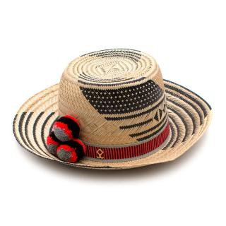 Yosuzi Koa Black and Beige Hand Woven Straw Hat