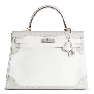 Hermes Gris and White Perle Swift Leather Ghillie Kelly 35cm Retourne