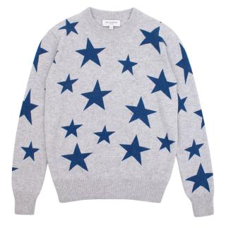 Eric Bombard Cashmere Blend Grey with Blue Stars Jumper