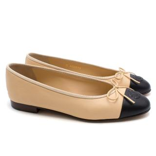 Chanel classic beige leather ballet flats