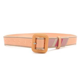 Prada Striped Peach Rubber Belt