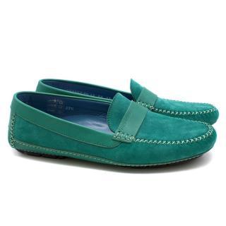 Moreschi Green Suede Loafers