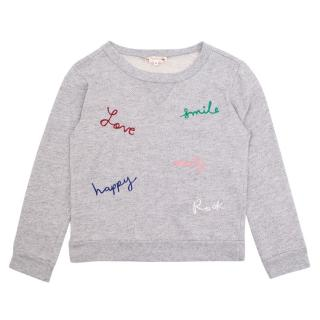 Bonpoint Embroidered Love , happy, Smile Sweatshirt