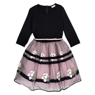 MONNALISA  Pink and Black Flower Occasion  Dress