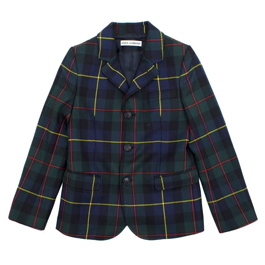 Dolce and Gabbana Checked Green Wool Blazer