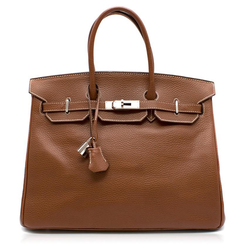Hermes Miel Clemence Leather 35cm Birkin Bag