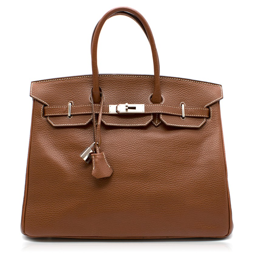 Hermes Miel Clemence Leather 35cm Birkin Bag