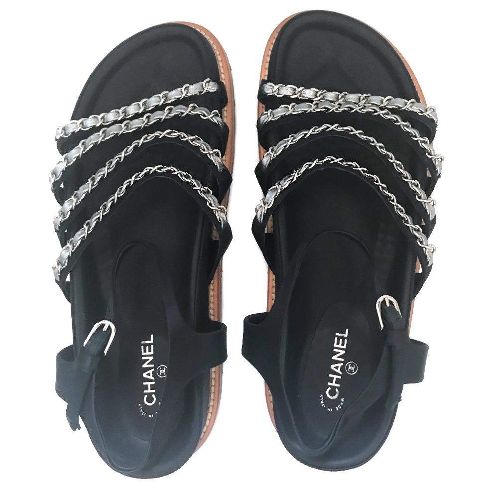 43abdbad3ff079 Chanel 2015 Satin Chainlink Sandals