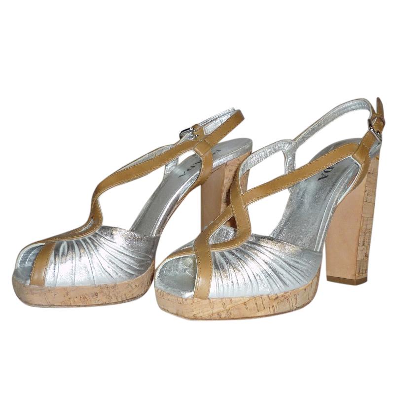 Prada Platform Cork Silver Prada Silver Sandals dCexBo