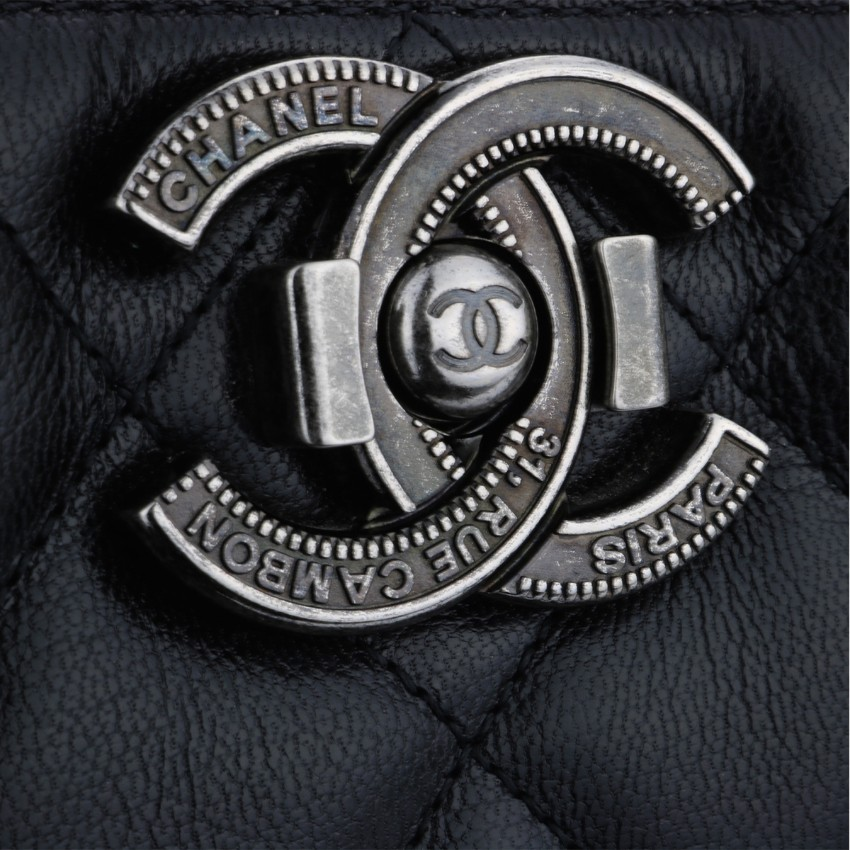 7419e2475bdd1b CHANEL City Rock Quilted Shopping Tote Black Goatskin. 26. 12345678910