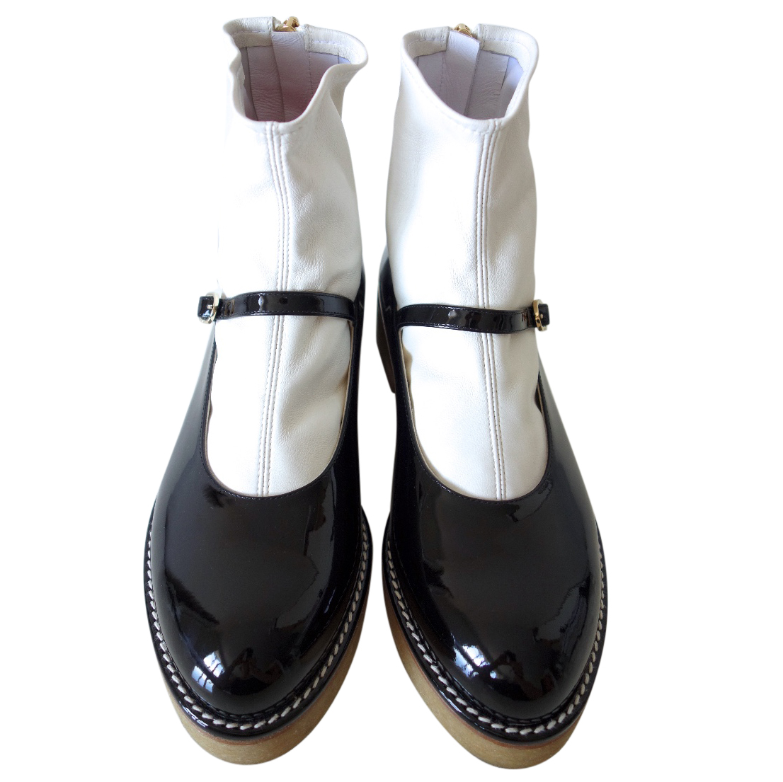 Chanel Leather Sock Mary Janes Hewi