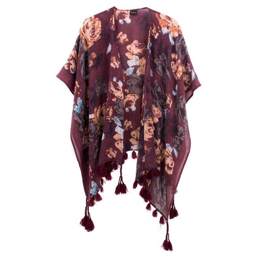 Saachi Burgundy Floral Wool Blend Shawl