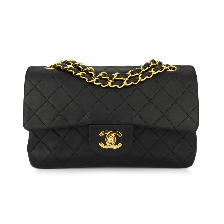 ccbccf5b04699 Chanel Small Black Lambskin Vintage Quilted Double Flap Bag