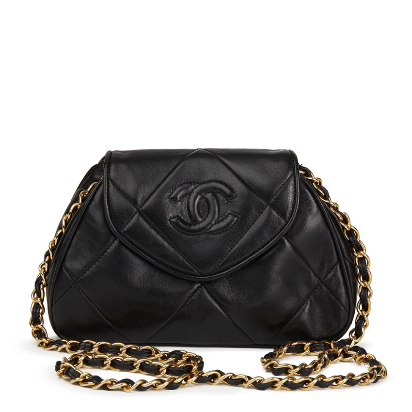 42022d9bc6cb Chanel Quilted Black Lambskin Vintage Timeless Mini Shoulder Pochette136495
