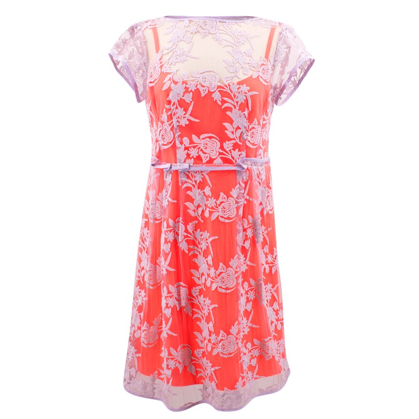 Nanette Lepore Fluorescent Pink and Purple Lace Dress