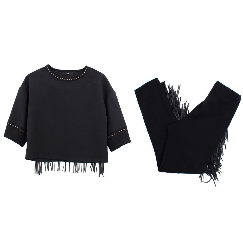 Monnalisa Jakioo black fringe top and trousers set