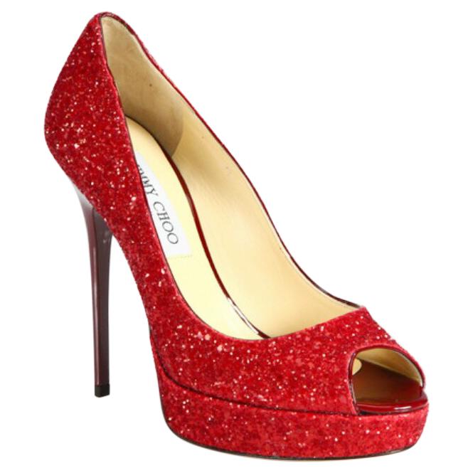 glitter peep toe pumps