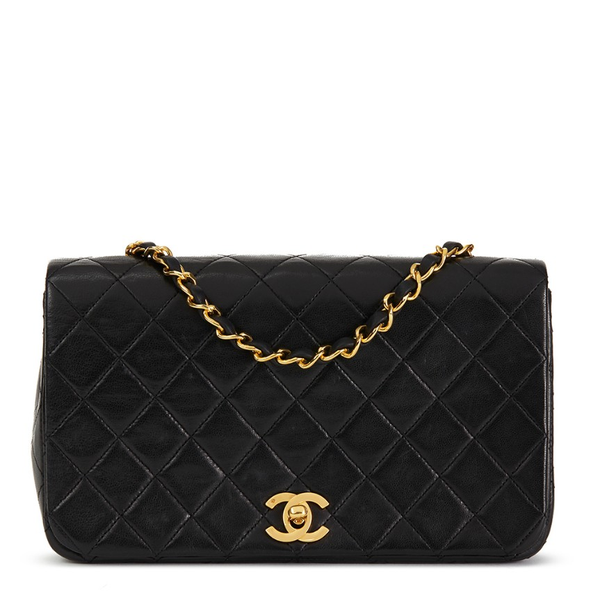 04544d0afa46 Chanel Vintage Black Lambskin Small Classic Single Full Flap Bag