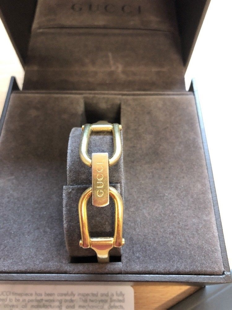 f85646cfeea Gucci 1500 18ct Gold Plated Horsebit Bracelet Watch. 26. 123456