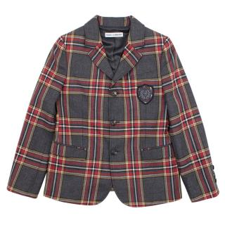 Dolce & Gabbana charcoal and red checked wool blazer
