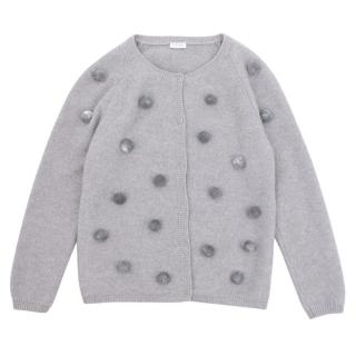 Il Gufo Girls Grey Pompom Cardigan