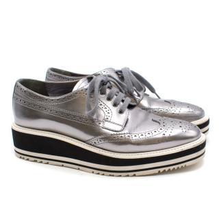 Prada Silver Wedge Heel Brogues