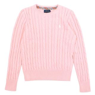 Ralph Lauren Polo Pink Cable-Knit Sweater