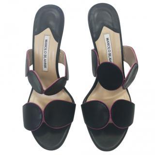 Manolo Blahnik Black Heeled Mules