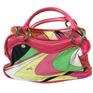 Emilio Pucci small canvas/patent leather handbag